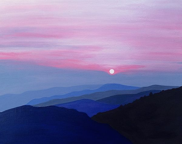 Purple Mountains Landscape Pink Sky Sunset Clouds Blue Hills Serene Original Acrylic Painting On Birch Boa Purple Painting Sunset Painting Sky Painting