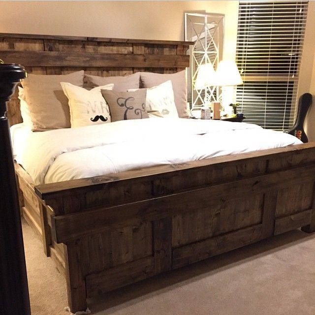"""""""You guys... This girl is fast.  We posted our plans for the king bed a couple weeks ago and check what @smhauckcurtis built for her master bedroom!! Way…"""""""