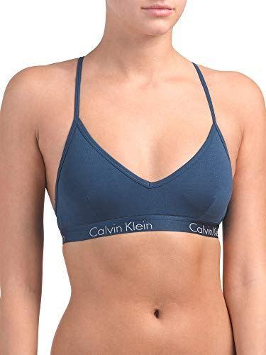 ff848cea865 Calvin Klein Women`s Motive Triangle Padded Racerback Bralette  (Blue(QP1668-482) Grey