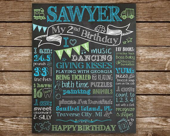 Personalized Birthday chalkboard poster or sign for childs birthday party and/or birthday photo shoot! It's a great keepsake to capture your little