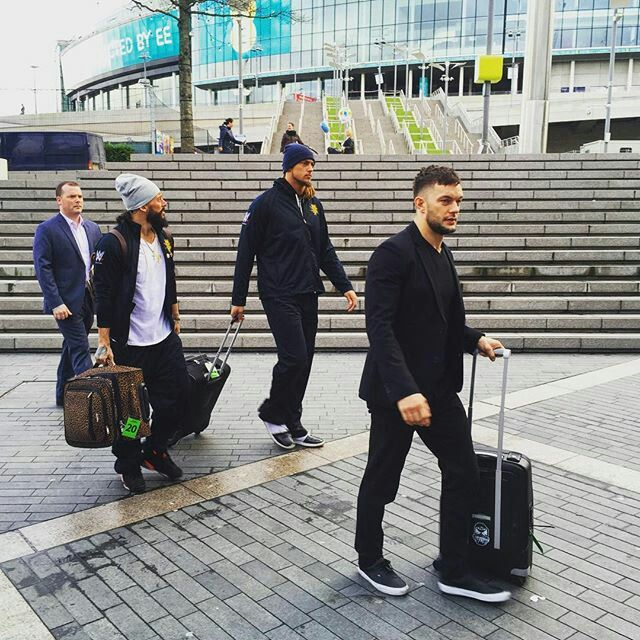 Enzo Amore, Colin Cassady and Finn Bálor arriving at SSE Arena.