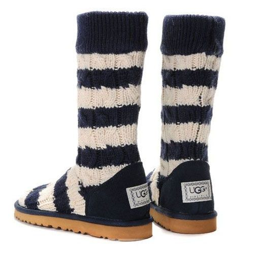 ... ugg classic tall stripe cable knit 5822 blue white ugg boots cyberweek