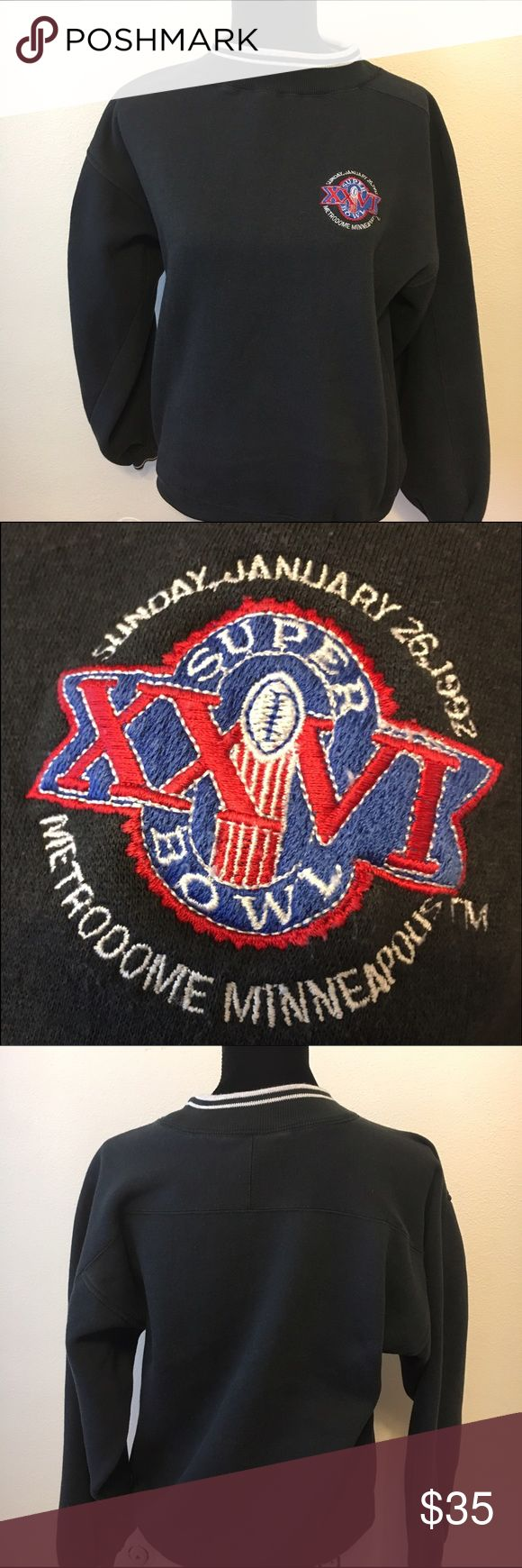 Vintage Super Bowl 26 sweatshirt. 1992 metrodome Vintage super bowl XXVI metrodome Minneapolis. 1992. In good condition. Slightly faded from time. Very soft inside. 21 inches arm to arm and 24 shoulder to hem. Size medium unisex. Throwback retro flashback. Vintage Tops Sweatshirts & Hoodies