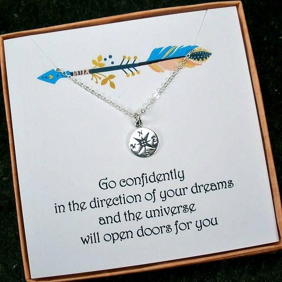 Graduation Gift: Compass Necklace, Sterling Silver