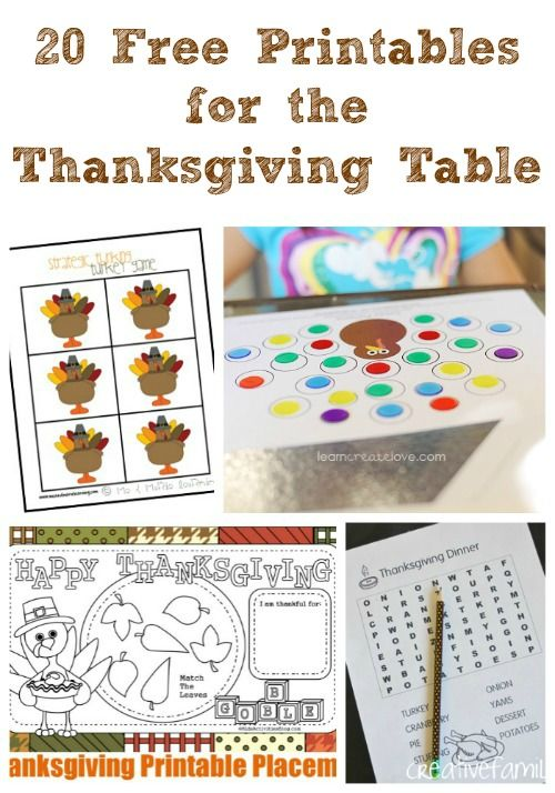 20 Free Printables for the Thanksgiving Table from Edventures with Kids