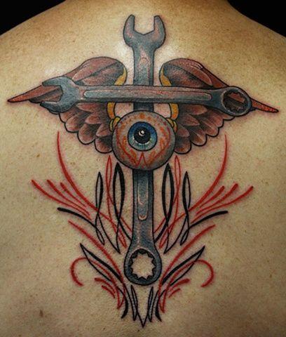 Wrench hot rod tattoo Eric James Phoenix Tattoo Company