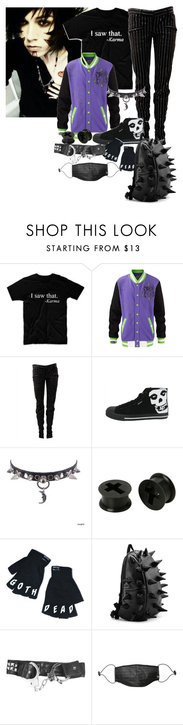 """""""Gothic or Emo...whatever..."""" by gothic-wolf ❤ liked on Polyvore featuring Balmain, Killstar, Mostly Heard Rarely Seen, men's fashion and menswear"""
