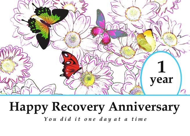 1 Year Happy Recovery Anniversary Flowers And Butterflies Card Ad Affiliate Recovery Happy Year Anniversary