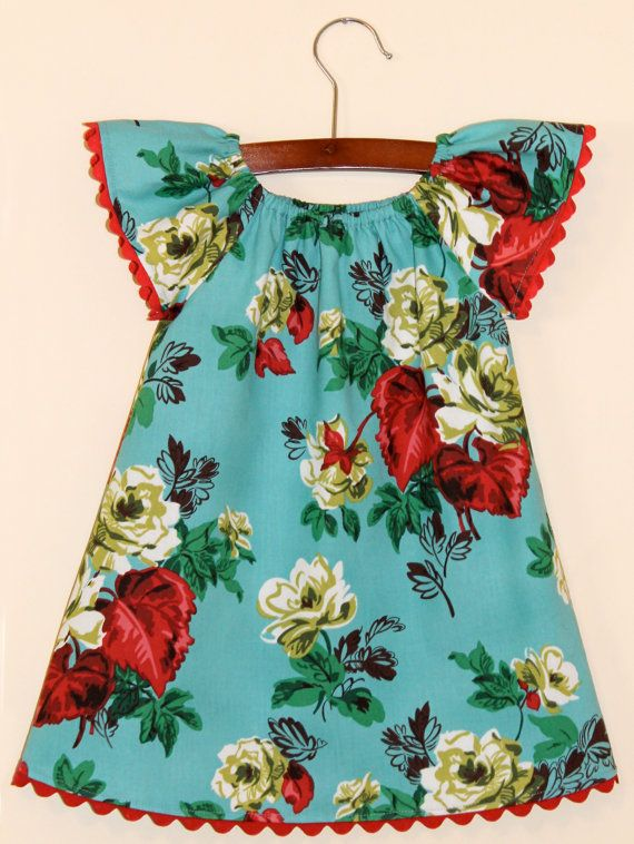 MY COUSIN HAS TALENT!!!!!!!                                                  Peasant baby dress White and red Roses on Aqua Size by JMhandmade, $25.00