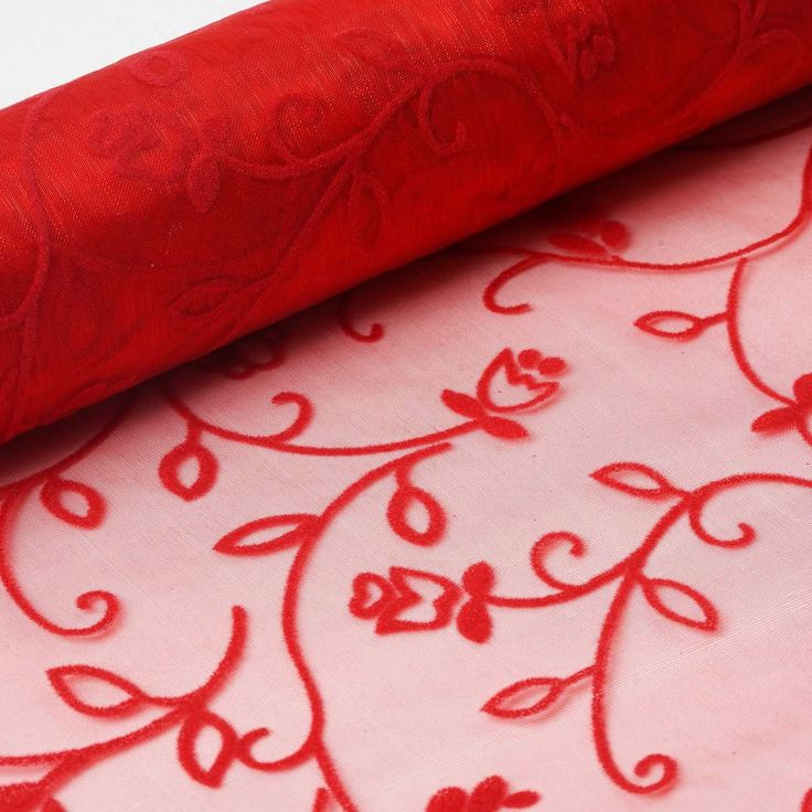 "Muchos Besos Embroider 12"" x 10 yards - Red 