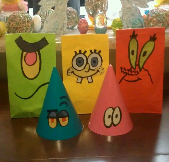 DIY Spongebob party hats & goody bags. Just plain bags/hats decorated with construction paper and a magic marker.