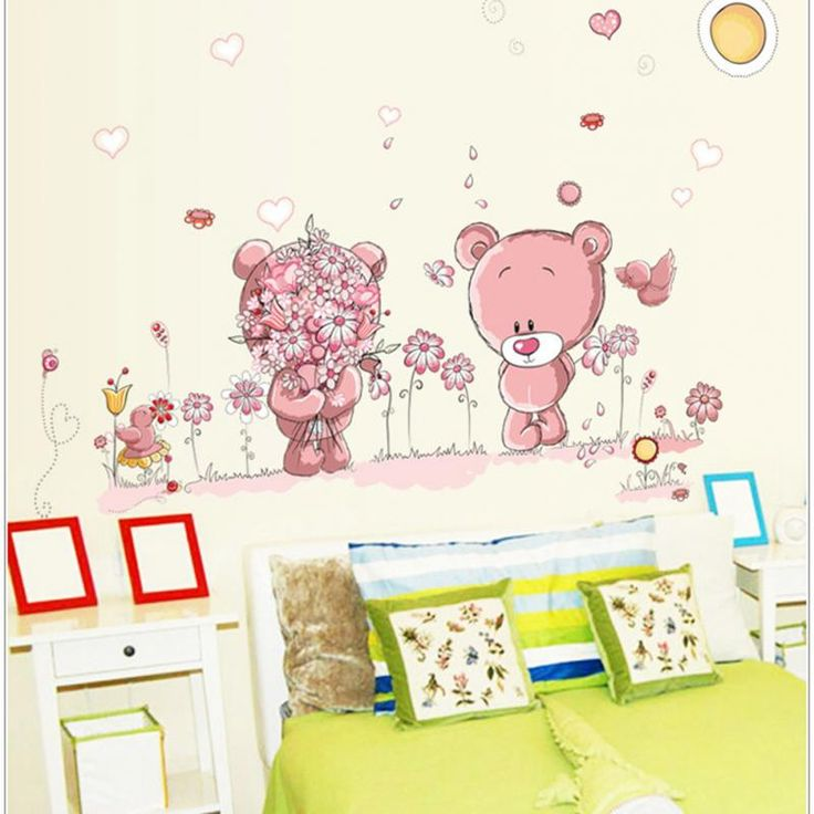 Removable Cute Couple Bear Wall Stickers Art Decal Wall Post Nursery Girl Baby Children Bedroom Docor