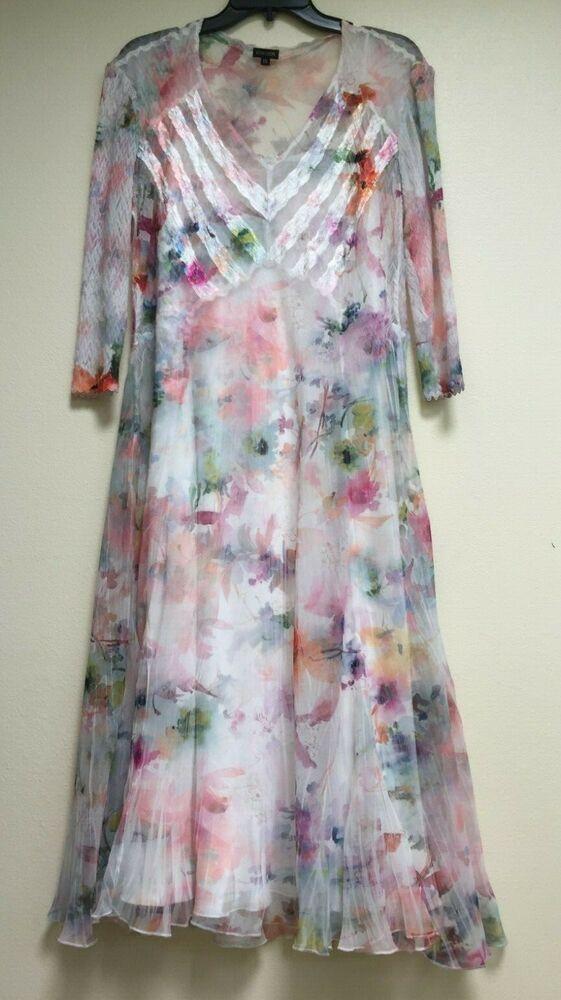 Komarov Plus Size Floral Print Chiffon A-Line Dress Size 1X ...