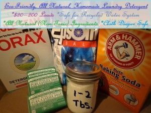 Eco-Friendly, All Natural, Homemade Laundry Detergent - This can last me a year; I don't have to worry about toxins or environmental effects; and it is safe for cloth diapers.  It also gives the reason not to use more traditional detergent ingredients.
