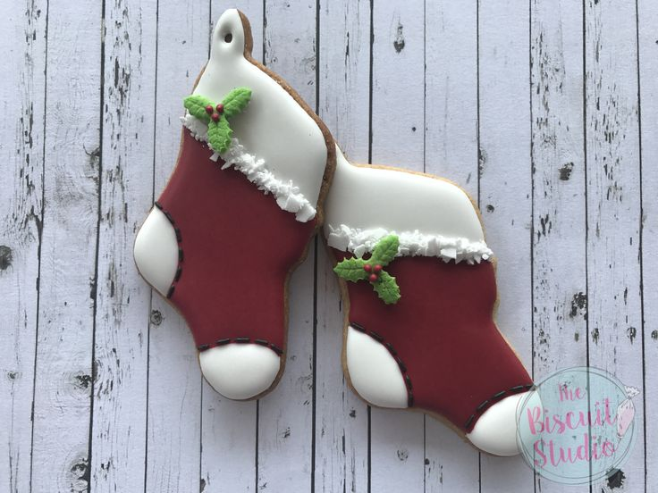 Christmas Stocking - The Biscuit Studio #cookies #Christmascookies #cookiedecorating