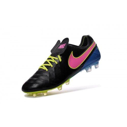 sale retailer 4d2b2 d941e Barato Nike Tiempo Legend VI FG Hombre Negro Azul Melocoton Botas De Futbol