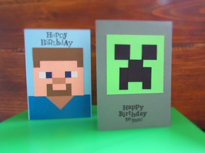 """Minecraft Birthday Cards! :D Made """"Steve"""" card for Aidan's bday. 6/2014 Didn't have room at top for sentiment. 3/8 inch squares - hand cut."""