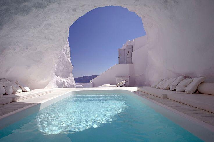 Cave pool, Santorini . . . via The Most Incredible Swimming Pools Around The World   DesignRulz.com