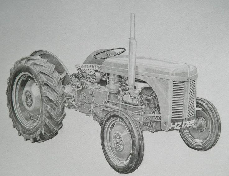 International Tractor Tattoo Designs : Pencil portrait of massey ferguson tractor drawn from