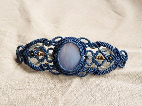 Pizzo blu agata Macrame bracciale