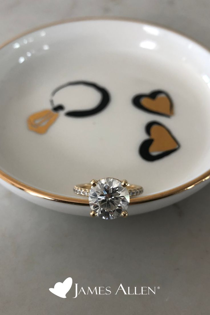 14k yellow gold petite pave crown diamond engagement ring