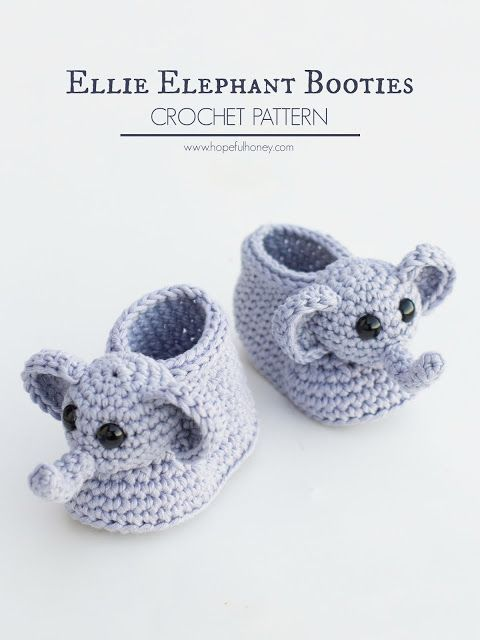 Hopeful Honey | Craft, Crochet, Create: Ellie The Elephant Baby Booties - Free Crochet Pat...