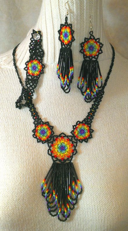 Vivid Rainbow Beaded Mandala Necklace set. A complete set including necklace, earrings, and bracelet. Beaded by hand using glass seedbeads