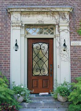 GlassCraft's Premium Fiberglass Arch Lite Door with Charleston wrought iron - traditional - front doors - dallas - GlassCraft Door Company