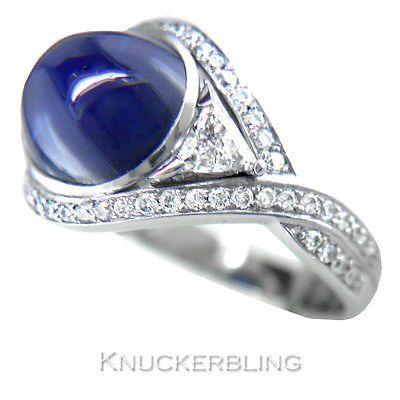 6.75ct Cabochon Sapphire 1.00ct Diamond & Platinum Ring Unique Handmade One-off