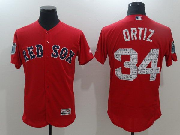 Red Sox 34 Ortiz Red Spring Training Jersey