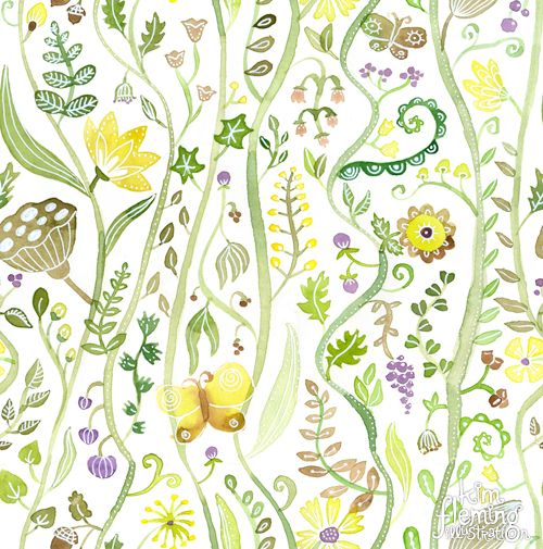 Repeating botanical pattern of vines, leaves, flowers, butterflies, pods. Created by hand with watercolours.