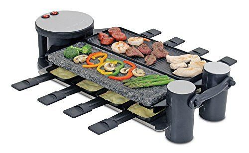 Swissmar KF-77073 Swivel 8-Person Raclette Party Grill with Granite Stone and Cast Aluminum Non Stick Grill Plate, Black