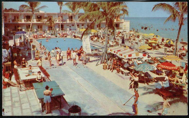 MIAMI BEACH FL Shoreham & Norman Hotel vintage postcard #roomcritic http://roomcritic.wordpress.com/2012/06/18/the-best-hotel-pool-porn-pictures-vintage-postcard-style/