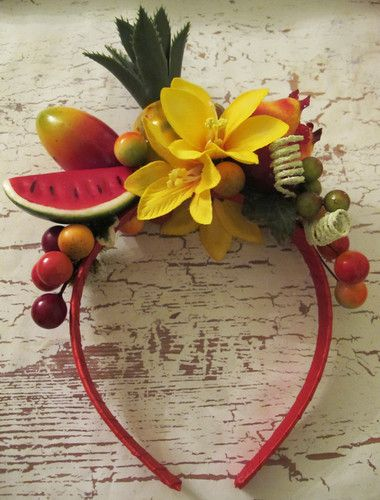 TROPICAL FRUIT AND FLOWERS HEADBAND~CARMEN MIRANDA STYLE ~ | eBay