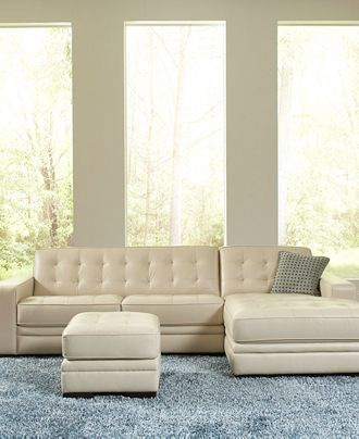 Sofa Sleeper white leather couch with ottoman