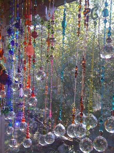 Hanging beaded crystal suncatchers ~ made with the Bead Pro ~ like the idea