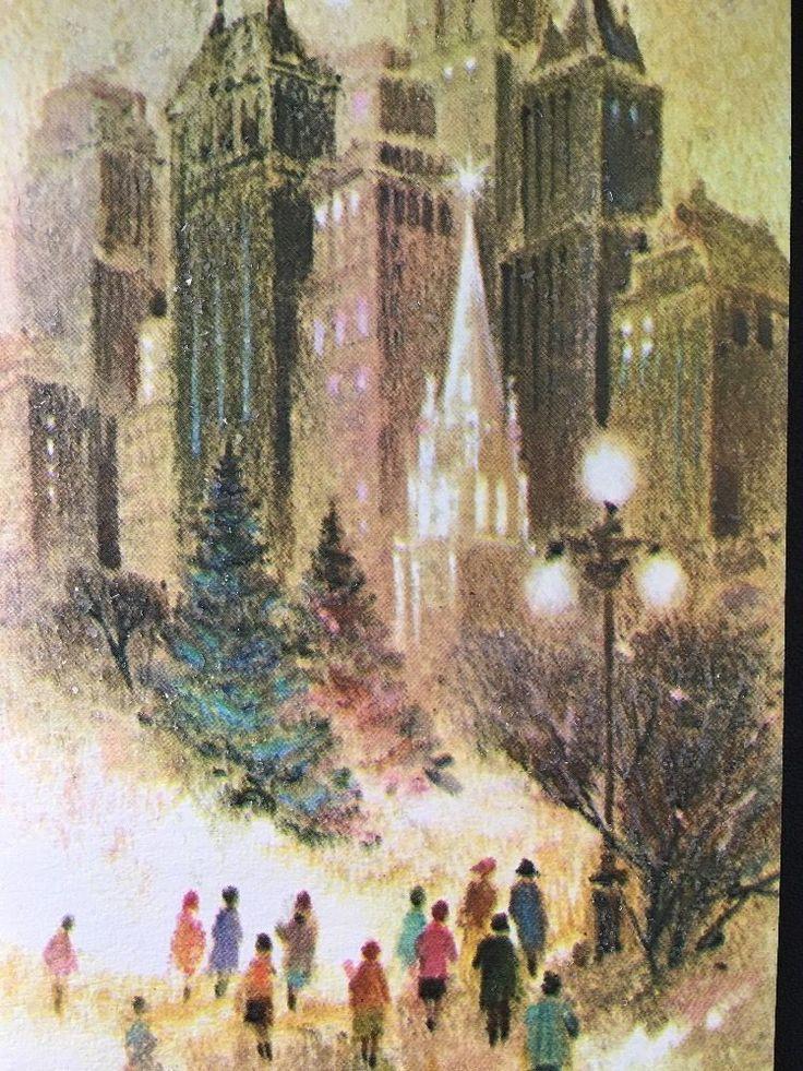 Vintage City Shoppers Snow Retro Vintage Christmas Greeting Card Skyscraper
