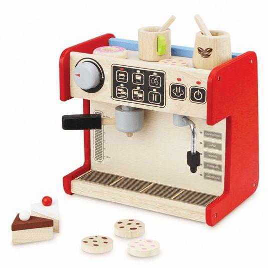 Dit leuke speelgoed koffiezetapparaat is van het merk Wonderworld. Je kunt met dit apparaat dit heerlijkste kopjes koffie maken. Wanneer je aan de draaiknop draait om de sterkte van de koffie in te stellen dan hoor je een grappig, klikkend geluid.   Aan de andere kant van het koffiezetapparaat vind je een display voor koekjes en taartjes, want bij zo'n lekker kopje koffie hoort natuurlijk wel iets lekkers.