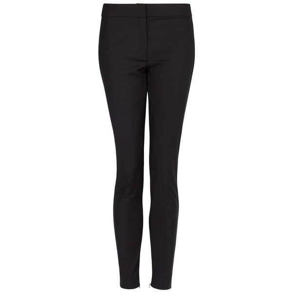 MANGO Slim-Fit Riding Trousers ($25) ❤ liked on Polyvore featuring pants, jeans, black, mango trousers, slim fit pants, riding pants, zipper pants and zipper trousers