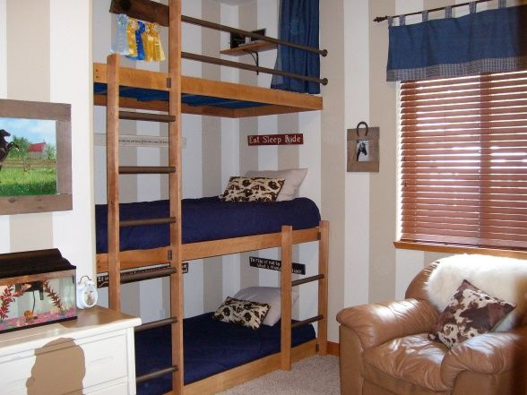 Triple bunks, or double bunks and a loft.