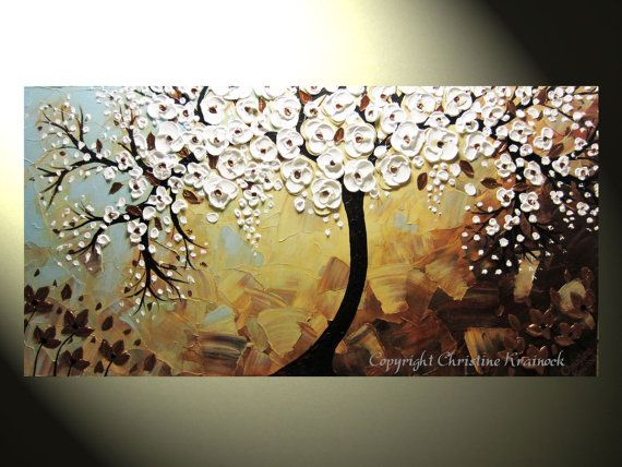 "Original Abstract Tree Painting, Textured Tree of Life, Bronze White Flowers, Blue Brown, Knife 48x24"" by Christine"