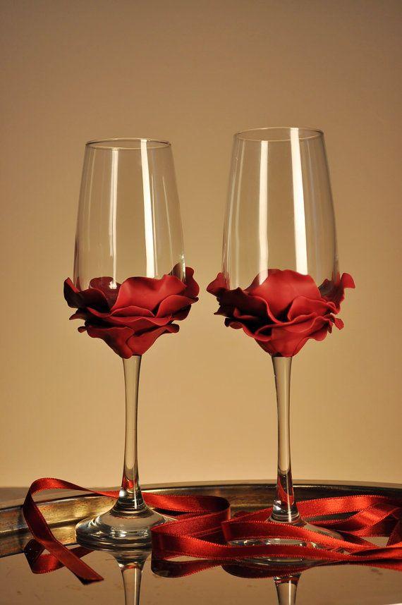 wedding glasses burgundy red rose champagne flutes hand decorated set of 2 cake serving set rose cake server and knife wedding glasses and the glass - Glass Decorations