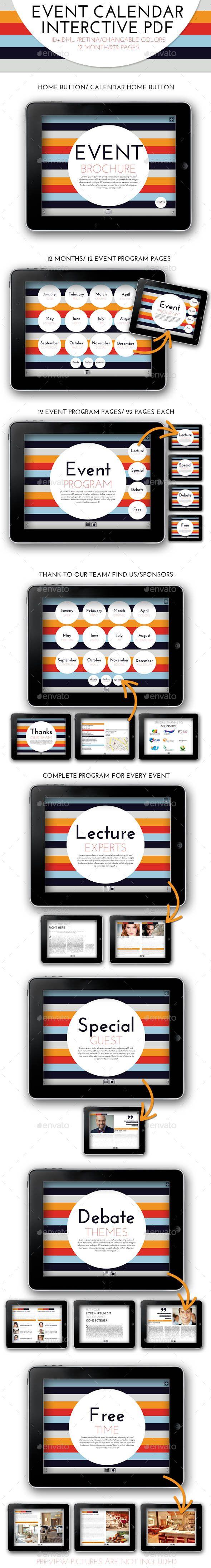 Interctive PDF Event Calendar Template #design Download: http://graphicriver.net/item/interctive-pdf-event-calendar/10336221?ref=ksioks