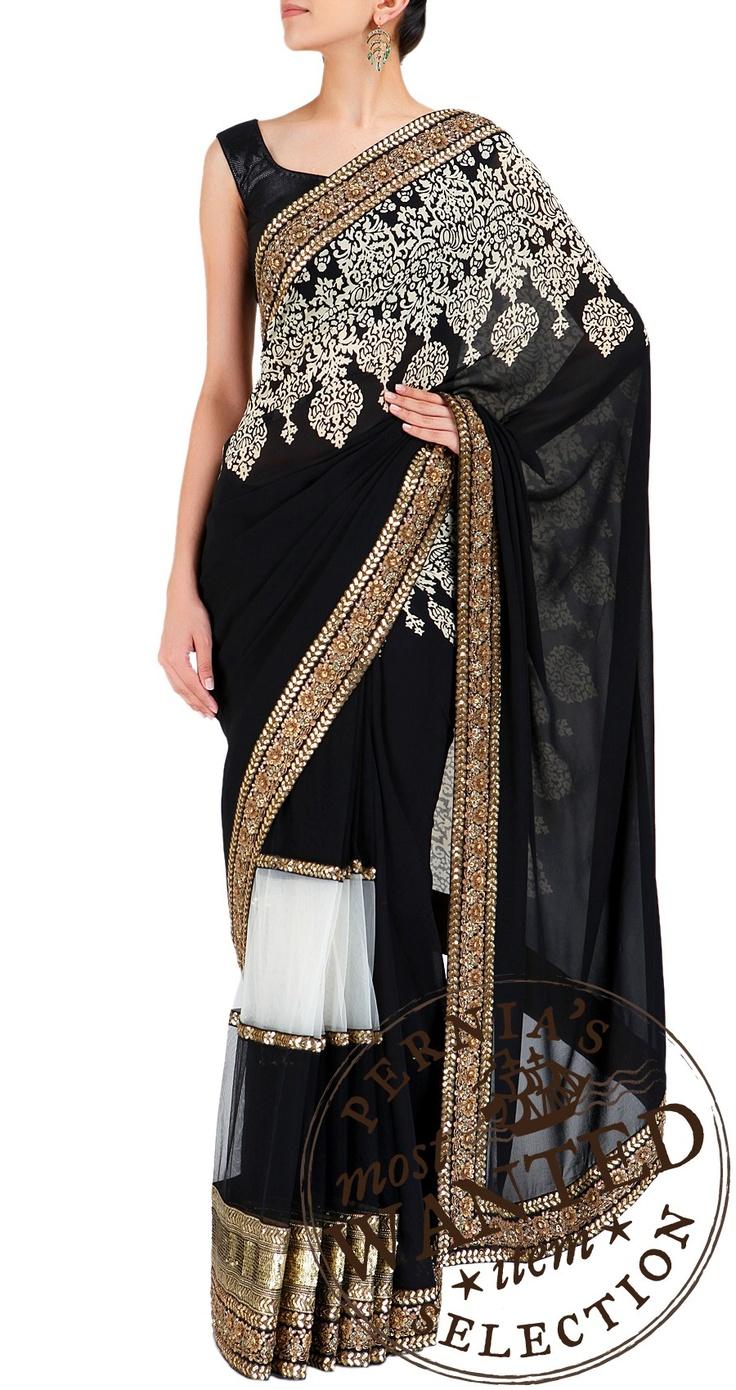 Sabyasachi Black sari with black and white net pleats