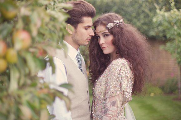 Secret Garden style Wedding shoot by Sarah Gawler with gold beaded wedding dress