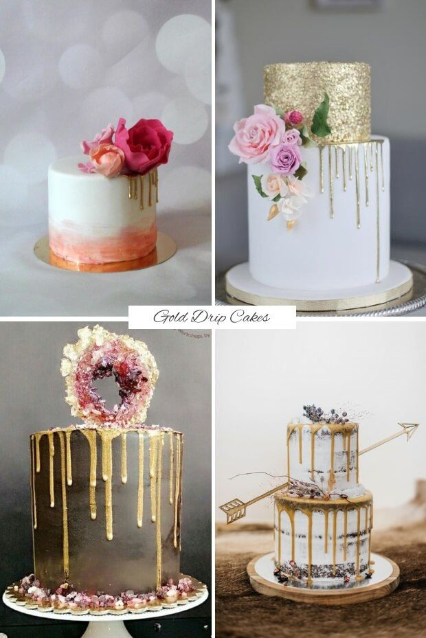 Find out what delicious dessert trends we'll be sinking our teeth into this year with today';s guide to the top wedding cake trends for 2017! Gold drip cakes.