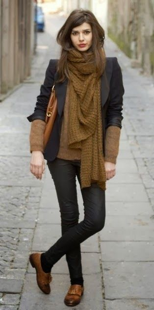 Chunky KnitsShoes, Colors Combos, Fashion, Style, Big Scarves, Winter Outfit, Blazers, Chunky Scarves, Black