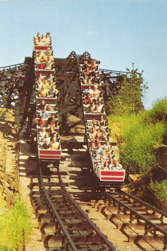 "River King Mine Train Six Flags St Louis! My first ""marathon ride""! It was a part of the St. Louis 'Clave 1972 there with my fellow Omega Kids. I got ditched by other legacies so I carried on and rode the coaster 9 times that day! The best part was the big dip finale!"