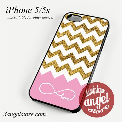 Glitter Gold Infinity Love Pink Chevron Phone case for iPhone 4/4s/5/5c/5s/6/6s/6 plus