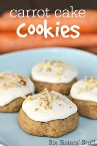 Six Sisters Frosted Carrot Cake Cookies Recipe.  One of the moistest cookies you will ever eat!  Delicious with the cream cheese frosting!